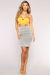 Working Girl Houndstooth Skirt - Grey