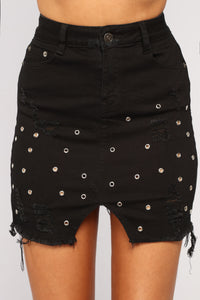 Taylor Grommet Mini Skirt - Black