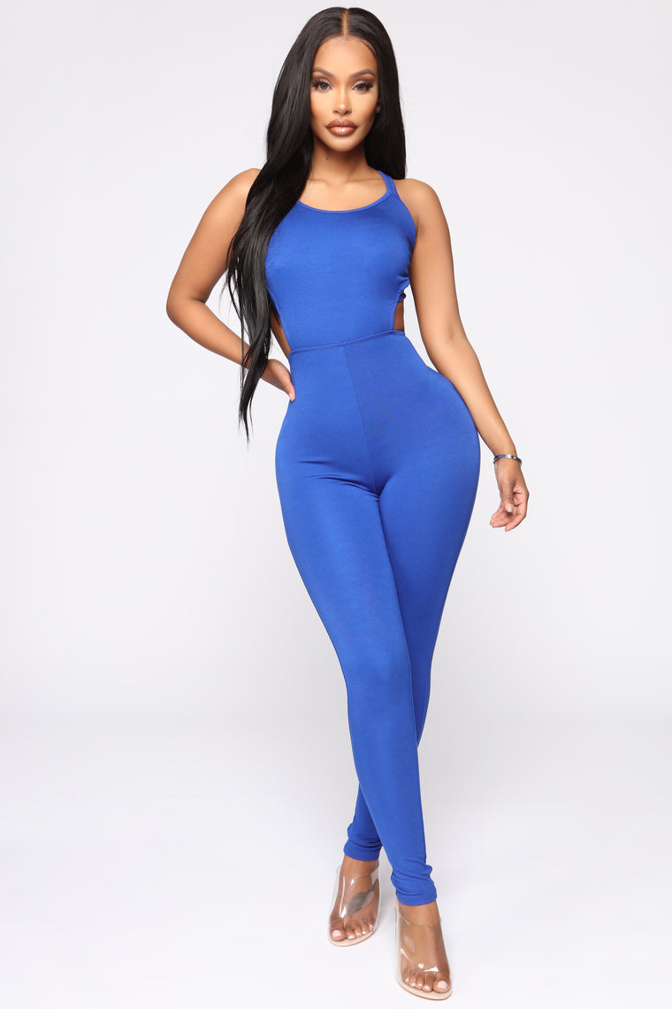 9c8a93afc7b6 No Time Wasted Strappy Jumpsuit - Royal