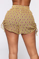Since You Asked Ruched Shorts - Mustard/combo