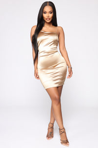 Stay With Me Dress - Gold