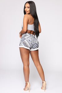 Can't Let You Go High Rise Printed Shorts - Navy
