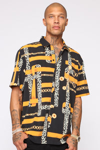 Wake Up In Chains Short Sleeve Woven Top - Orange/combo