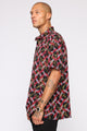 Gold On Chain Short Sleeve Woven Top - Red/combo