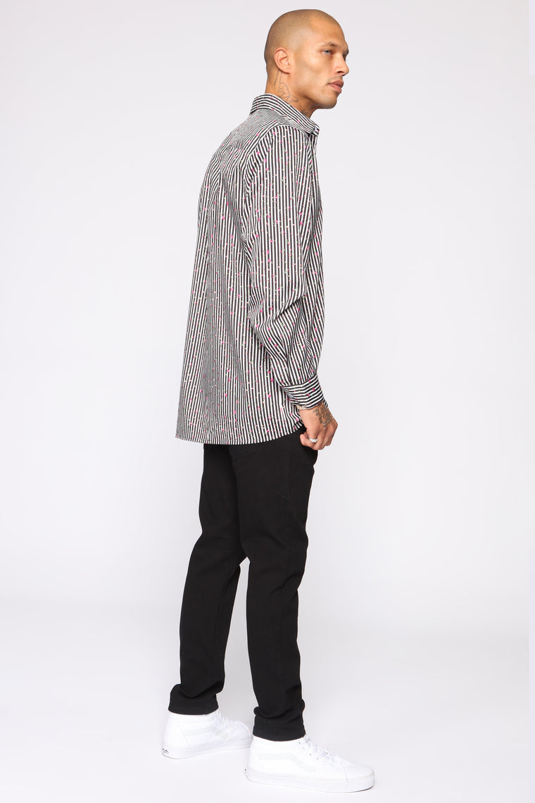 Flower Floss Long Sleeve Woven Top - Black/combo