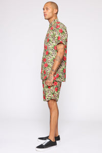 Spotted Floral Short Sleeve Woven Top - Tan/Multi Angle 4
