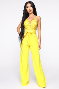 I Hear The Gentlemen Calling Lace Jumpsuit - Yellow Angle 1