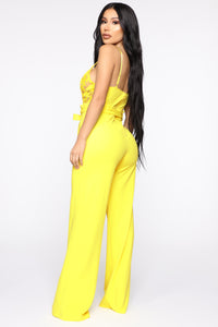 I Hear The Gentlemen Calling Lace Jumpsuit - Yellow Angle 4