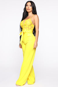I Hear The Gentlemen Calling Lace Jumpsuit - Yellow Angle 3