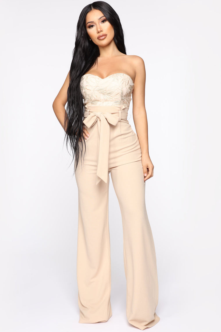 Leaf Me Out Of It Paperbag Jumpsuit - Gold