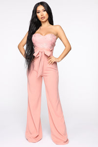 Leaf Me Out Of It Paperbag Jumpsuit - Blush Angle 1