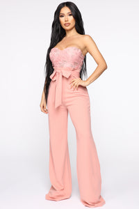 Leaf Me Out Of It Paperbag Jumpsuit - Blush Angle 3