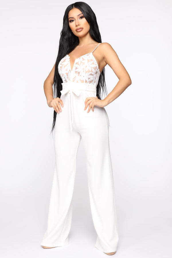 c7d3a095fd5 I Hear The Gentlemen Calling Lace Jumpsuit - White