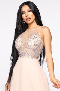 Own The Room Embriodered Gown - Champagne Angle 2