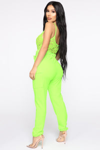 Quinn Paperbag Jumpsuit - Neon Lime Angle 4