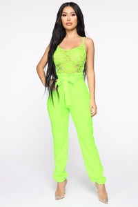 Quinn Paperbag Jumpsuit - Neon Lime Angle 1