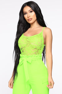 Quinn Paperbag Jumpsuit - Neon Lime Angle 2