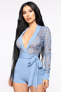 Always Lovely Lace Romper - Blue