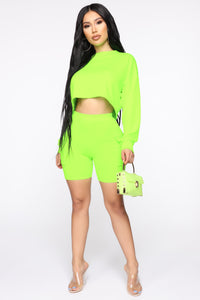 Cool N Comfy Cargo Short Set - Neon Green