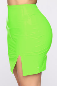 Make It Last Vinyl Mini Skirt - Neon Green