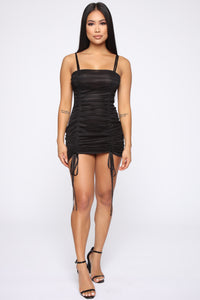 Vibrant Lifestyle Ruched Mini Dress - Black Angle 2