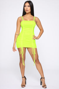 794030dbab Vibrant Lifestyle Ruched Mini Dress - Neon Green