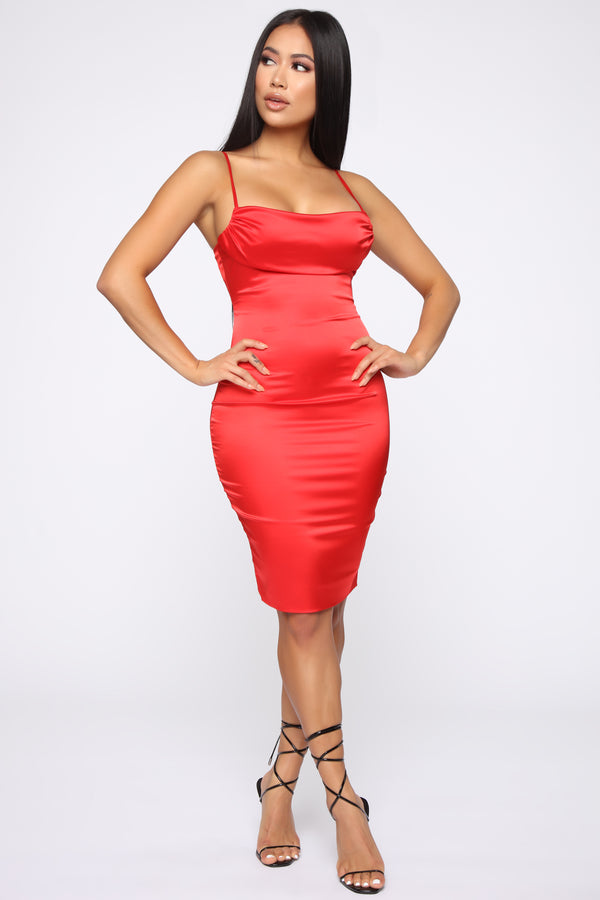 cbe608a9f33 Got What You Want Satin Midi Dress - Red