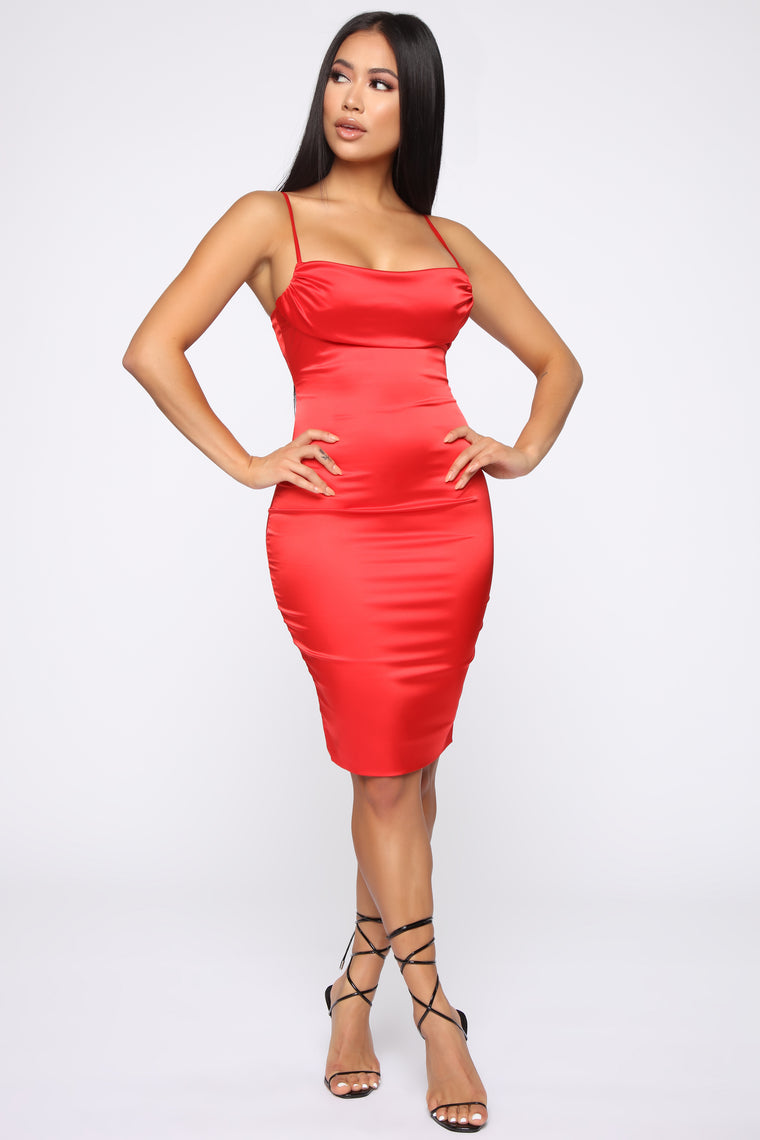 Got What You Want Satin Midi Dress - Red