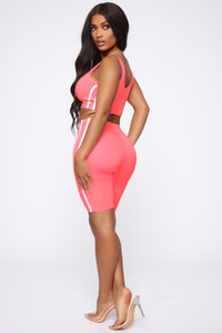 Tennis Pro Short Set - Neon Pink Angle 2