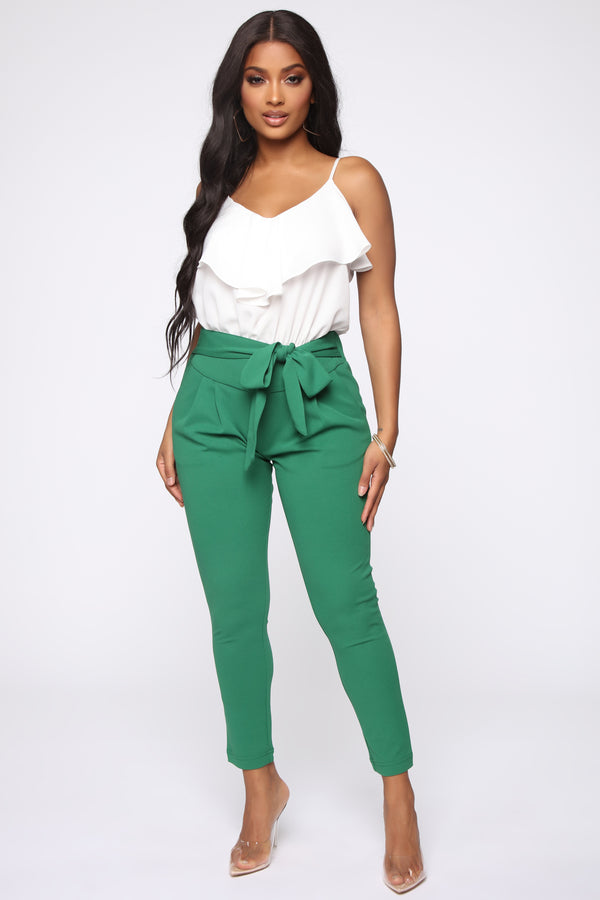 Green Flare Pants Fashion Nova