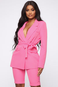 Slightly Proper Blazer Set - Pink Angle 3