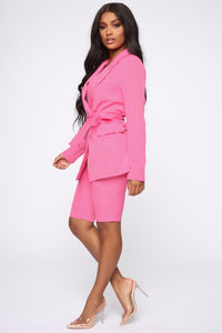 Slightly Proper Blazer Set - Pink Angle 4