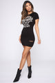 Up For The Challenge Graphic Shirt Dress - Black