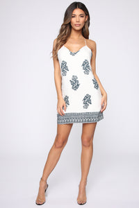 Boho Chic Mini Dress - Off White/Teal