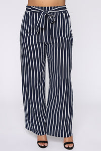 Clarice Striped Pants - Navy/Combo Angle 2