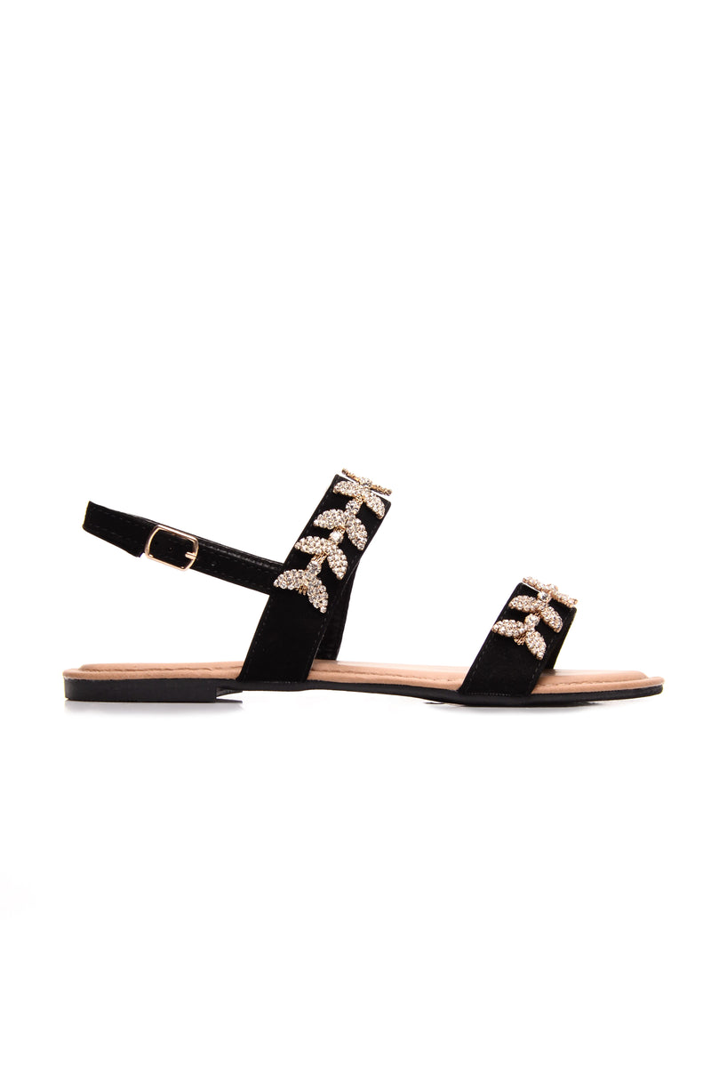 No Secrets Left Sandals - Black