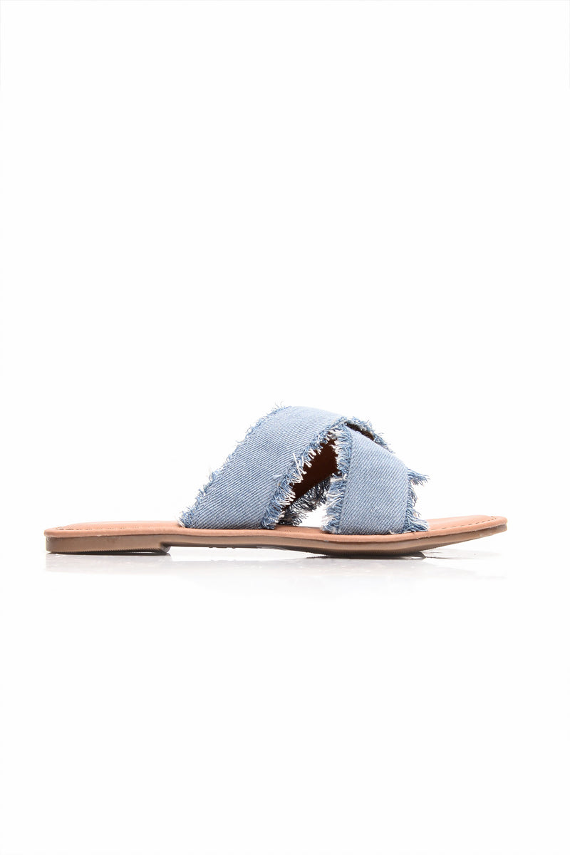Say Fray Sliders - Light Denim