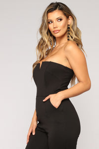Office Party Tube Jumpsuit - Black