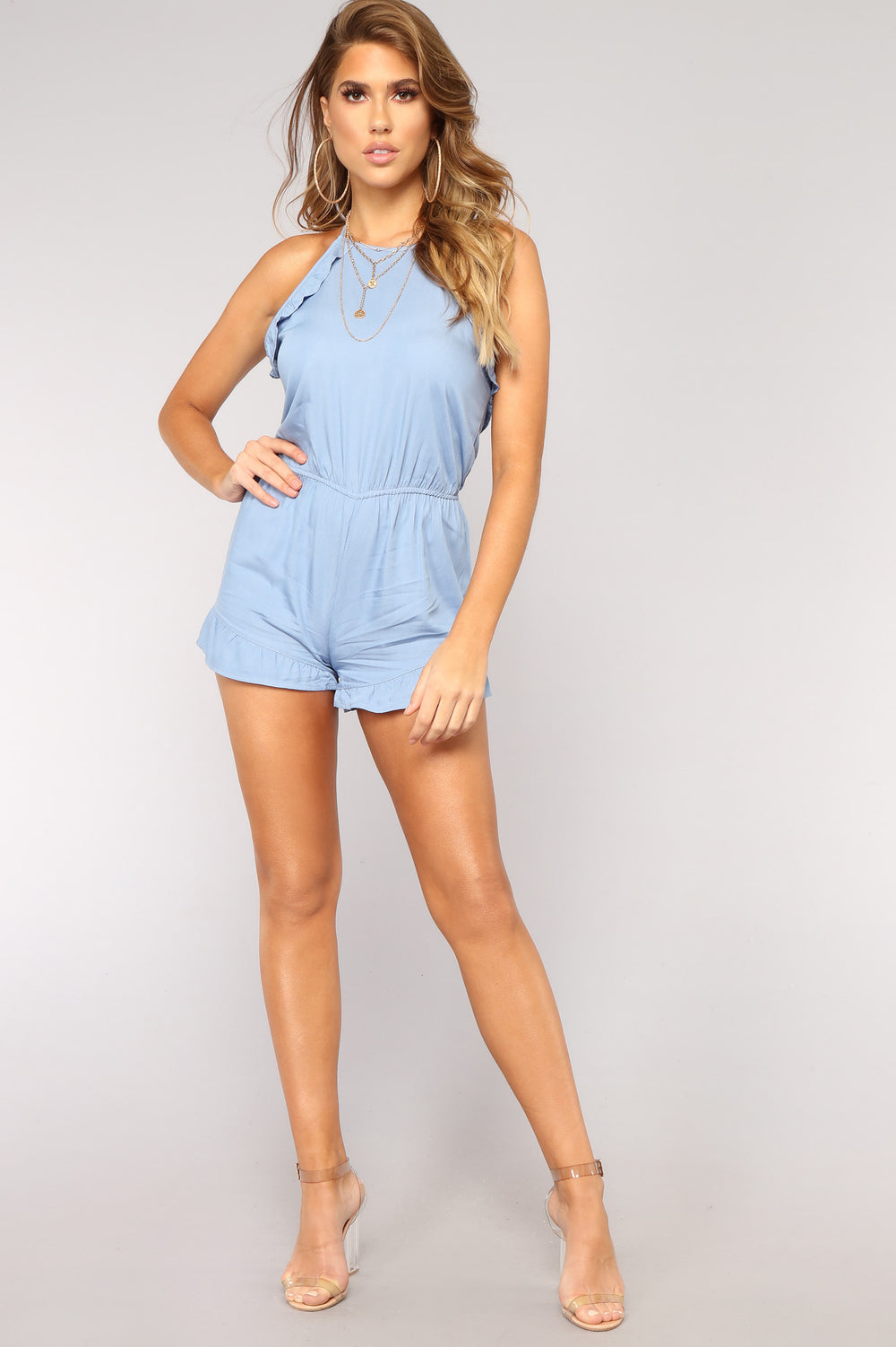 Kacey Ruffle Romper - Light Blue Wash