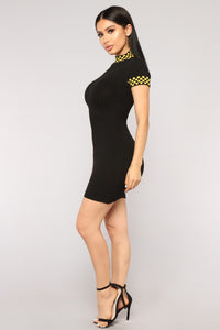 Downforce Knit Dress - Black/Yellow