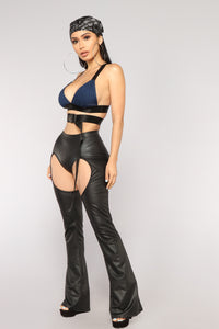 Crowd Pleaser Cutout Pants - Black