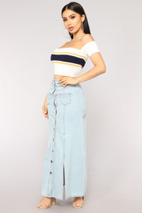 Shania Denim Maxi Skirt - Light Blue Wash
