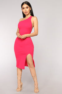 Shannon One Shoulder Dress - Magenta