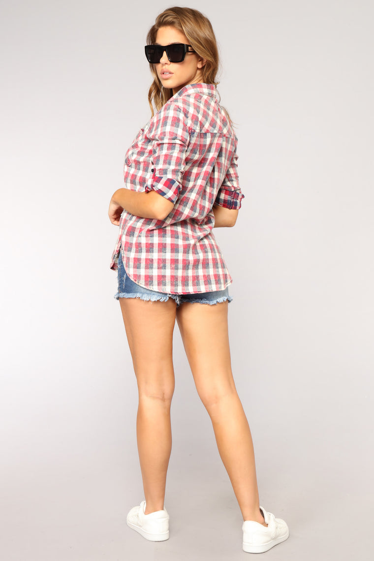 Pushing My Buttons Plaid Top - Red