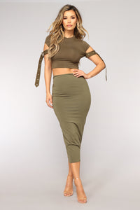 Cut That Out Crop Top - Olive