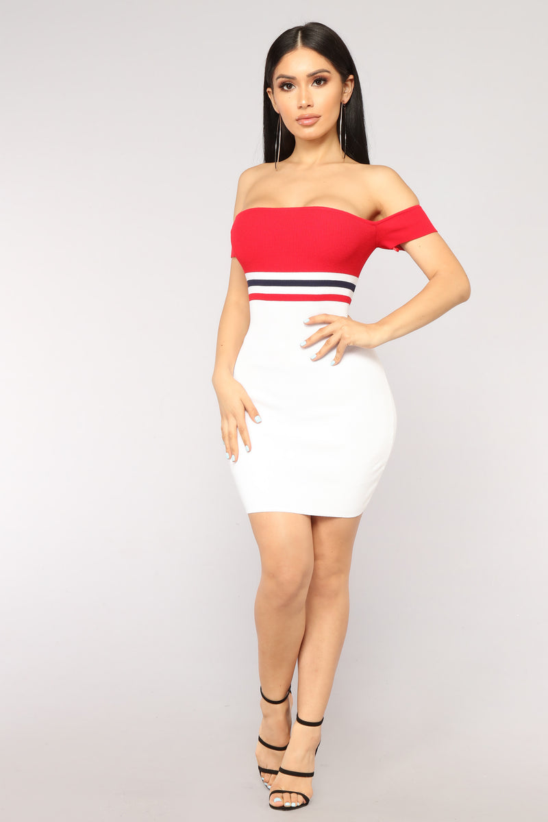 Too Good At Goodbyes Knit Dress - Red/White