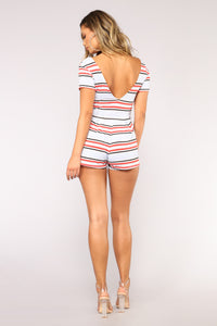 Maura Multi Stripe Romper - Blue