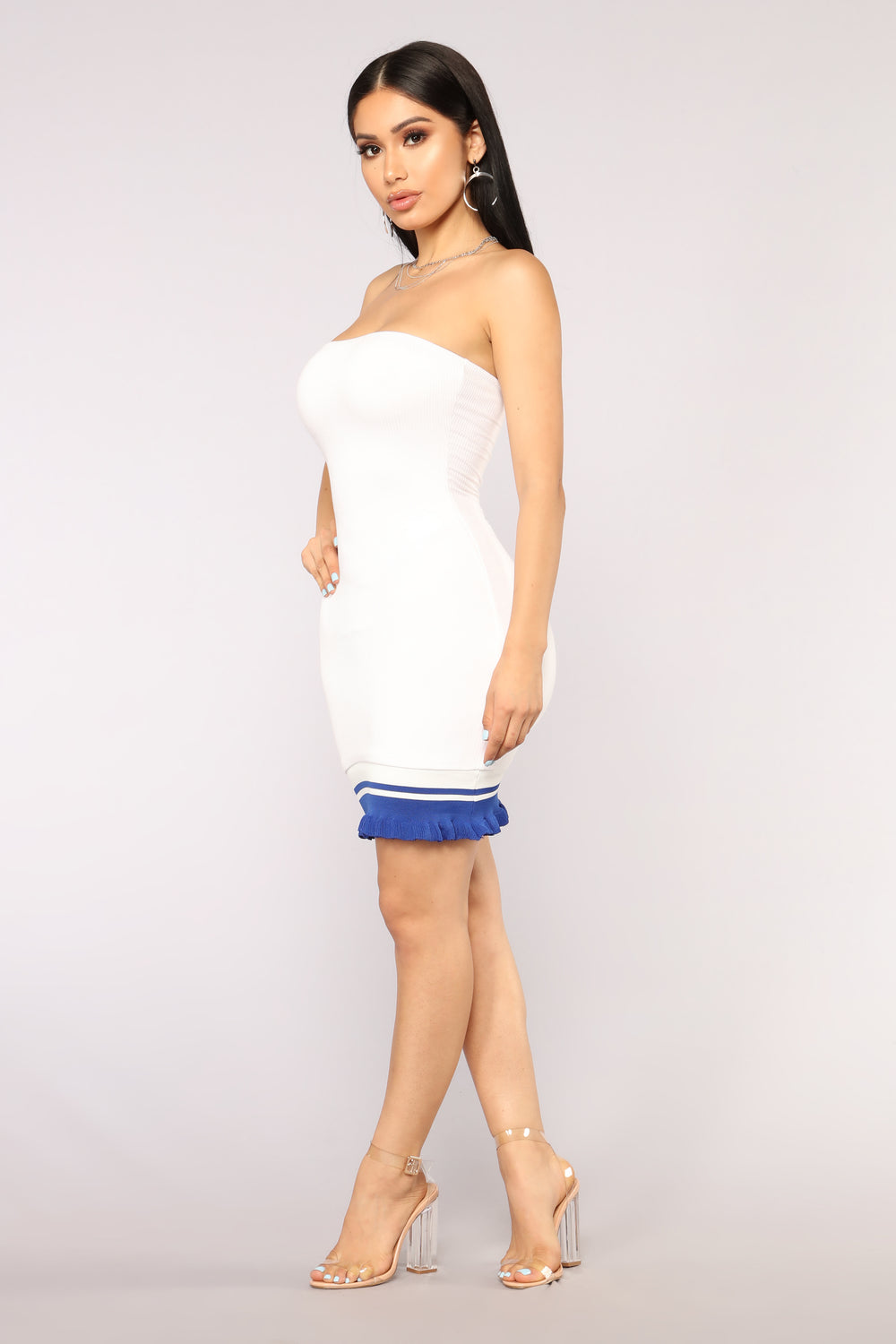 Team Cheer Ribbed Dress - White/Royal