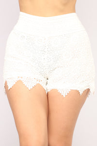Out To The Desert Crochet Shorts - White Angle 2