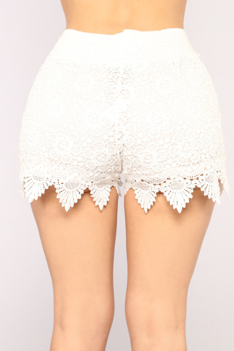 Out To The Desert Crochet Shorts - White